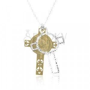 Srebrny 925 naszyjnik, rzeźbiony krzyż z Jezusem złotego i srebrnego koloru obraz