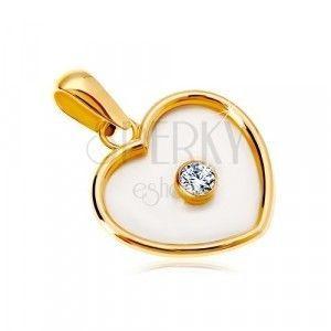Zawieszka z żółtego 14K złota - serce z perłowym wypełnieniem i bezbarwną cyrkonią pośrodku obraz