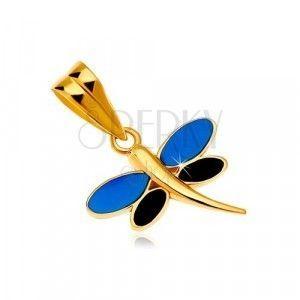 Zawieszka z żółtego złota 585 - ważka z emalią niebieskiego i czarnego koloru na skrzydłach obraz
