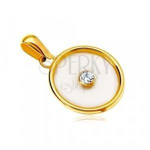 Zawieszka z żółtego 14K złota - okrąg z perłowym wypełnieniem i bezbarwną cyrkonią pośrodku obraz
