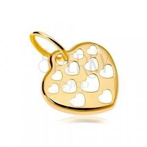Złoty wisiorek 585 - lśniące serca ozdobione powycinanymi sercami obraz