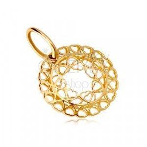 Zawieszka z żółtego złota 585 - krąg z połączonych małych serc obraz