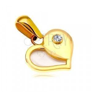 Złota 14K zawieszka - serce z połową z białej perły i okrągłą cyrkonią. obraz