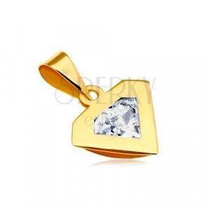 Zawieszka z żółtego 14K złota - kontur diamentu, błyszcząca bezbarwna cyrkonia obraz