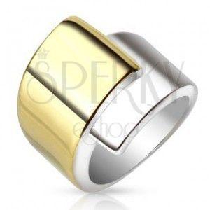 Stalowy pierścionek, szerokie nałożone na siebie ramiona złotego i srebrnego koloru obraz