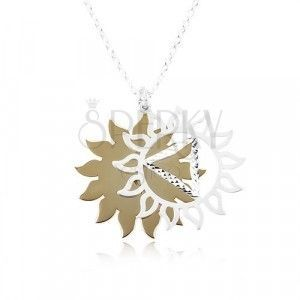 Srebrny 925 naszyjnik, rzeźbione słońce w dwukolorowej kombinacji obraz