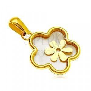 Zawieszka z żółtego 14K złota - kwiat z perłowym wypełnieniem i mniejszym kwiatem obraz