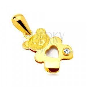 Zawieszka z żółtego złota 585 - miś z perłowym sercem i przezroczystą cyrkonią obraz