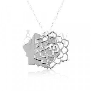 Naszyjnik ze srebra 925, duży rzeźbiony kwiat, symbol Om obraz