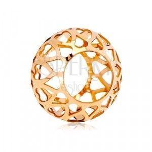 Zawieszka z różowego 14K złota - pusty walec z rzeźbionymi sercami obraz