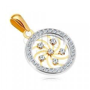 Złota zawieszka 585 - błyszcząca spirala i przezroczyste cyrkonie w obręczy z białego złota obraz