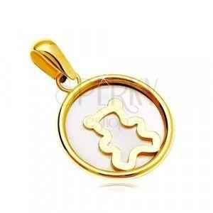 Zawieszka z żółtego 14K złota - okrąg z białym perłowym wypełnieniem i misiem obraz