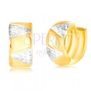 Złote kolczyki 14K - szersze koło z trójkątami z białego złota obraz
