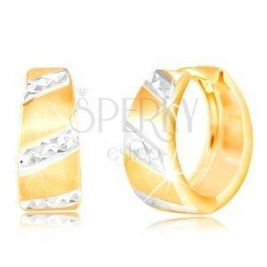 Złote kolczyki 585 - matowe rozszerzone koło, błyszczące pasy z białego złota obraz