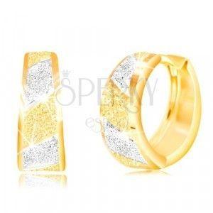 Złote 14K kolczyki - błyszczące piaskowane pasy z żółtego i białego złota obraz