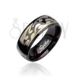 Czarny stalowy pierścionek z wzorem Tribal w srebrnym kolorze obraz