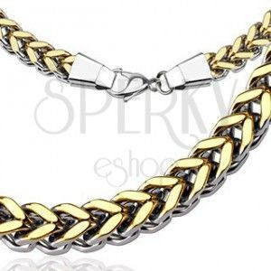 Masywny łańcuszek ze stali chirurgicznej - złocisty wzór V obraz