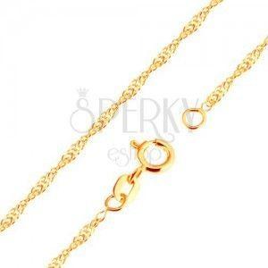 Złoty łańcuszek 375 - spirala z lśniących płaskich owalnych ogniw, 500 mm obraz