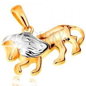 Dwukolorowa złota zawieszka 585 - symbol znaku zodiaku - LEW obraz