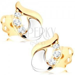 Diamentowe kolczyki - błyszcząca łza z 14K białego i żółtego złota, trzy bezbarwne brylanty obraz