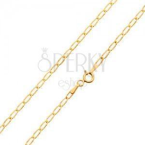 Złoty łańcuszek 585 - cienkie płaskie ogniwa, lśniące promieniste nacięcia, 550 mm obraz