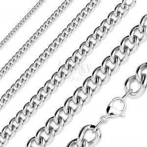 Łańcuszek ze stali chirurgicznej, błyszczące eliptyczne ogniwa, kolor srebrny obraz