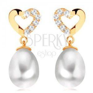 Diamentowe kolczyki z żółtego 14K złota - kontur serca z brylantami, owalna perła obraz