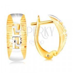 Złote kolczyki 585 - łuk otoczony nacięciami, rzeźbiony klucz grecki obraz