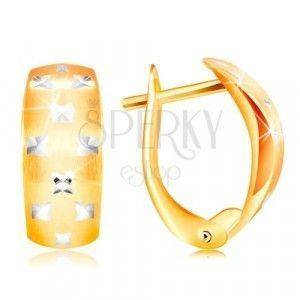 Złote 14K kolczyki - matowy łuk, małe błyszczące krzyże z białego złota obraz