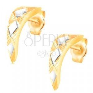 Złote 14K kolczyki - błyszczący, zwężający się łuk z rombami z białego złota obraz