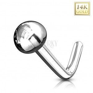 Złoty 14K zagięty piercing do nosa - błyszcząca gładka półkuleczka, białe złoto obraz