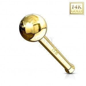 Prosty złoty 14K piercing do nosa - lśniąca gładka kuleczka, żółte złoto obraz