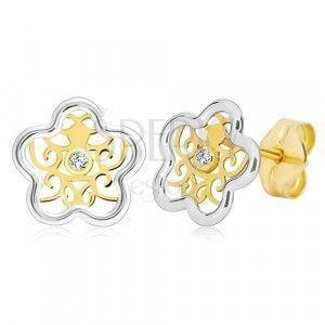 Kolczyki ze złota 585 - dwukolorowy kwiat z ornamentem i przezroczystą cyrkonią obraz