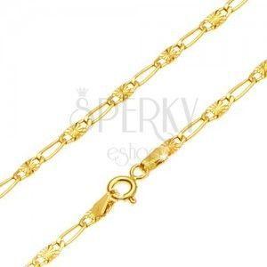 Łańcuszek z żółtego złota 14K - długie ogniwo, ogniwo z promienistymi nacięciami, 500 mm obraz