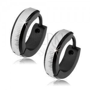Okrągłe kolczyki ze stali chirurgicznej srebrnego koloru, czarny pas obraz