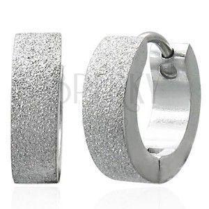 Piaskowane kolczyki ze stali chirurgicznej, srebrne obraz