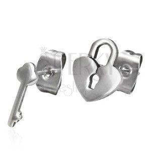 Lśniące stalowe kolczyki - inny wzór - kłódka i klucz, wkręty obraz