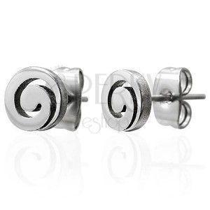 Stalowe kolczyki, srebrny odcień, lśniąca spirala, sztyfty obraz