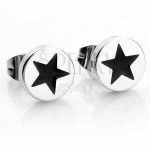 Okrągłe stalowe kolczyki w srebrnym kolorze, czarna gwiazdeczka obraz