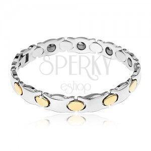 Wąska stalowa bransoletka, srebrny kolor, owale w złotym odcieniu, magnesy obraz
