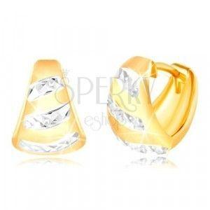 Złote 14K kolczyki - matowy rozszerzony łuk, błyszczące pasy z białego złota obraz