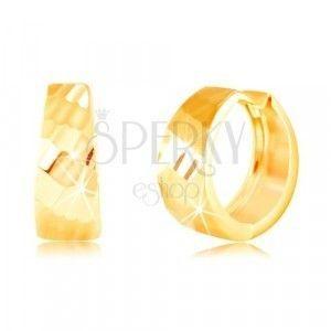 Złote kolczyki 585 - błyszczące rozszerzone koło, lśniąca szlifowana powierzchnia obraz