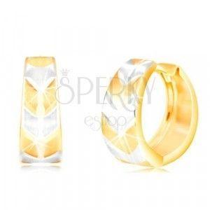 Okrągłe kolczyki z 14K złota - koło z matowym dwukolorowym wzorem V obraz