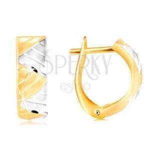 Kolczyki z 14K złota - łuk z trójkątami z białego i żółtego złota obraz