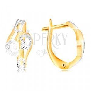 Złote kolczyki 585 - lśniące pofalowane linie ozdobione nacięciami i białym złotem obraz