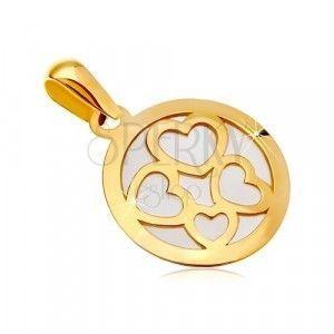 Zawieszka z żółtego złota 585 - koło z białym perłowym wypełnieniem, kontury czterech serc obraz