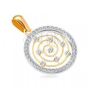 Złota 14K zawieszka - obręcz z białego złota i cyrkonii, cienka spirala w środku obraz