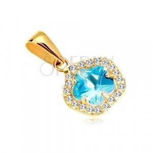 Zawieszka z żółtego 14K złota - kwiat z niebieskiego syntetycznego akwamarynu i cyrkonii obraz