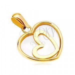 Zawieszka z żółtego 14K złota - serce z masą perłową i ukośnym konturem pośrodku obraz