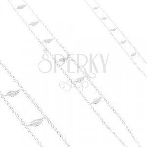 Srebrny naszyjnik 925, podwójny łańcuszek, błyszczące grawerowane liście obraz